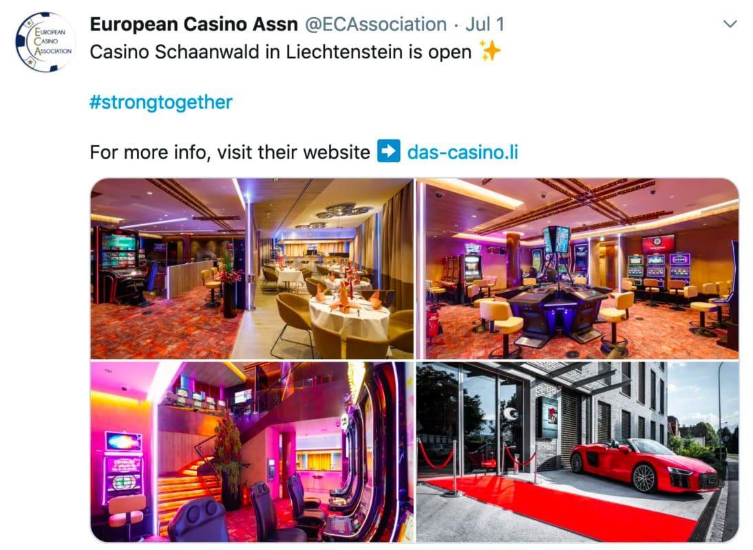 Twitter Post der European Casino Association