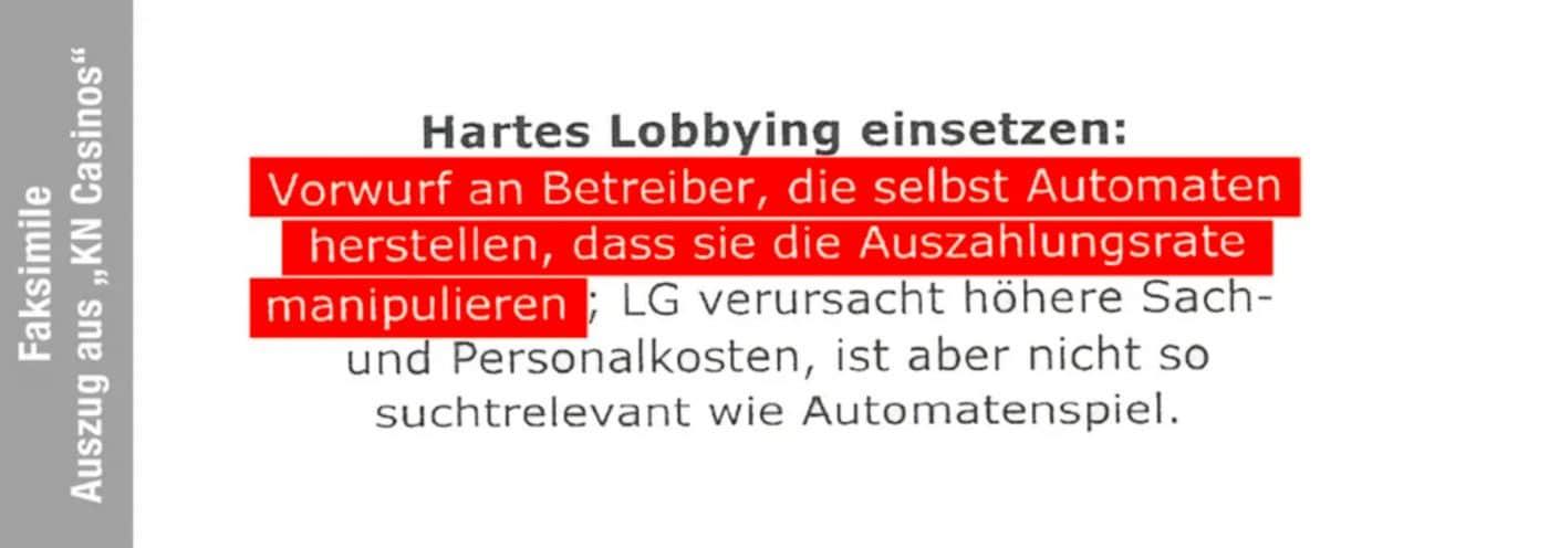 KN Casinos Geheimpapier: Hartes Lobbying