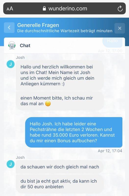 Wunderino Kundendienst Chat