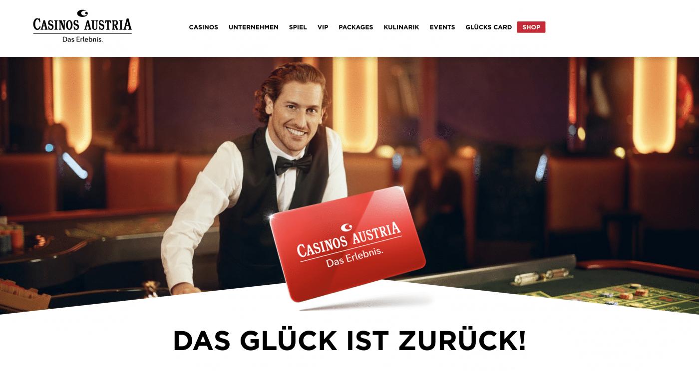 Die Casinos Austria bewerben die Wiedereröffnung als Glück