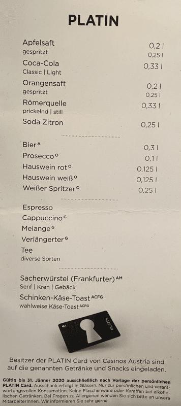 Getränkekarte bei den Casinos Austria für VIP Kunden