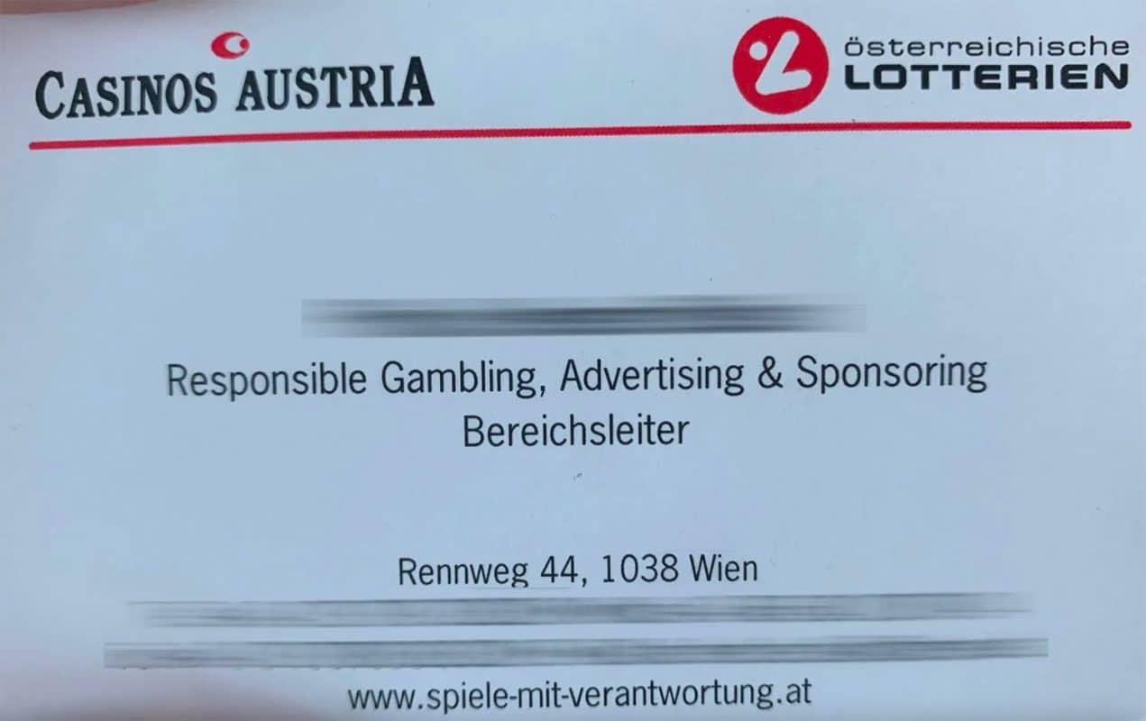 Visitenkarte Casinos Austria