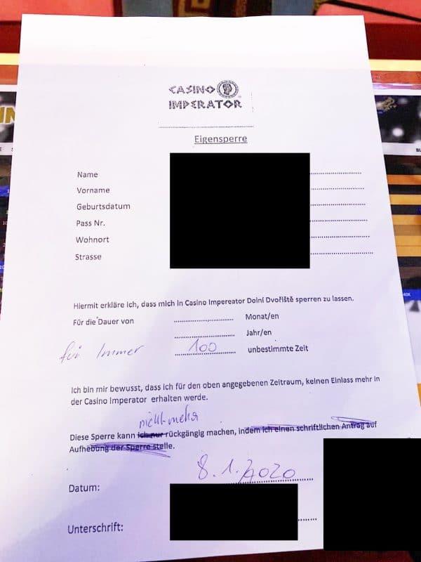 Totalsperre ignoriert - Mit Unterschrift des Managers vom Casino