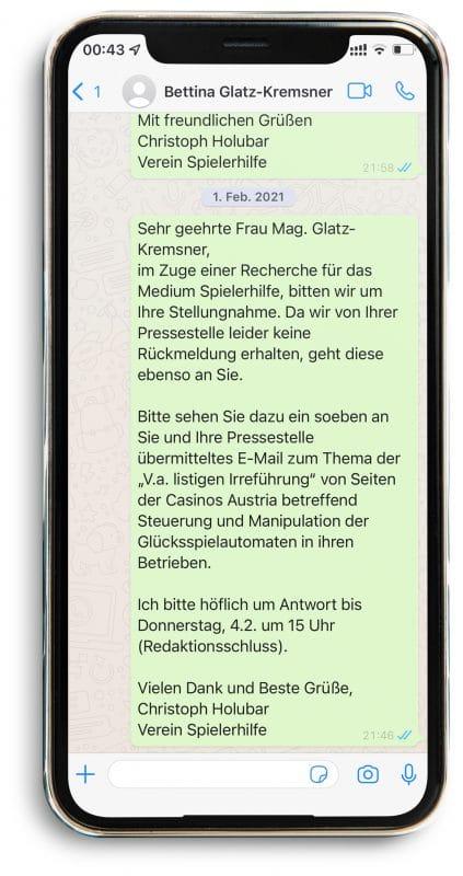 WhatsApp an Glatz-Kremsner #1