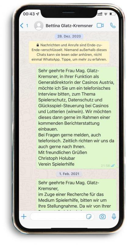 WhatsApp an Glatz-Kremsner #3