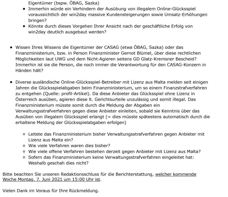 Anfrage an Finanzministerium - 2
